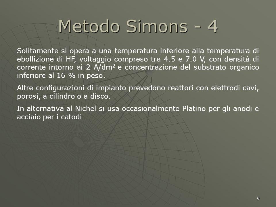 9 Metodo Simons - 4 Solitamente si opera a una temperatura inferiore alla temperatura di ebollizione di HF, voltaggio compreso tra 4.5 e 7.0 V, con de