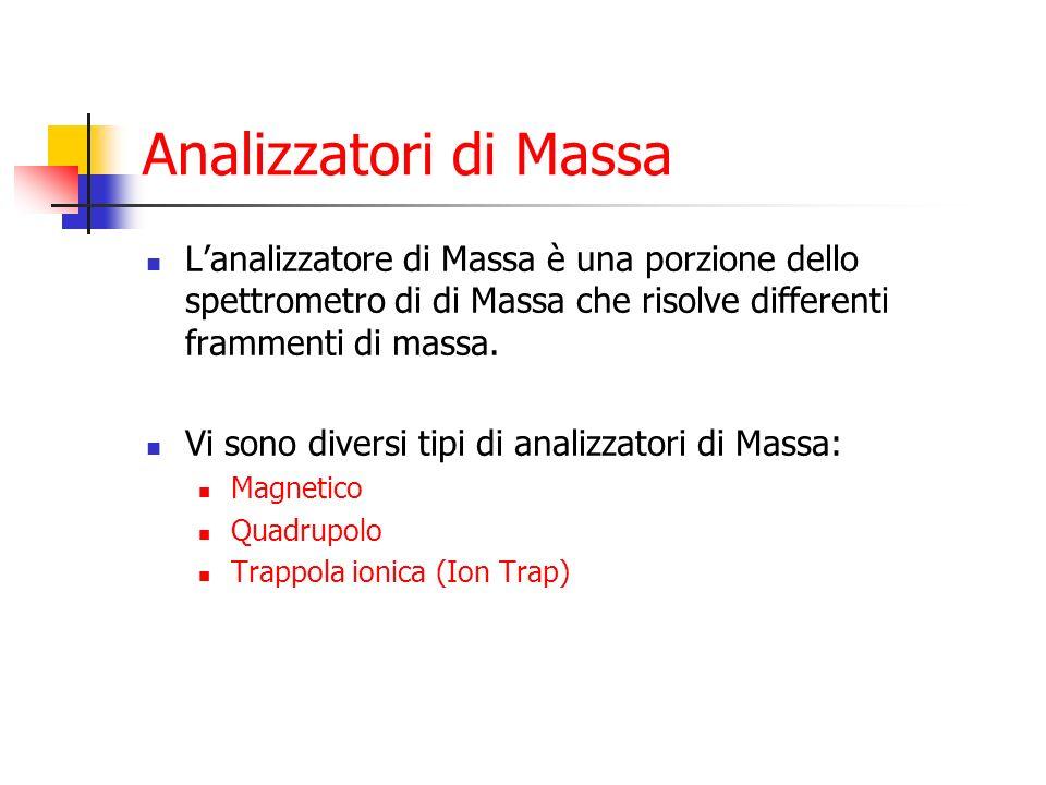 Analizzatori di Massa Lanalizzatore di Massa è una porzione dello spettrometro di di Massa che risolve differenti frammenti di massa. Vi sono diversi