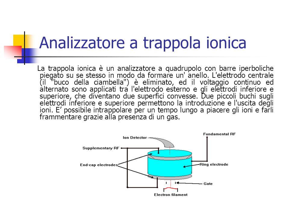 Analizzatore a trappola ionica La trappola ionica è un analizzatore a quadrupolo con barre iperboliche piegato su se stesso in modo da formare un' ane