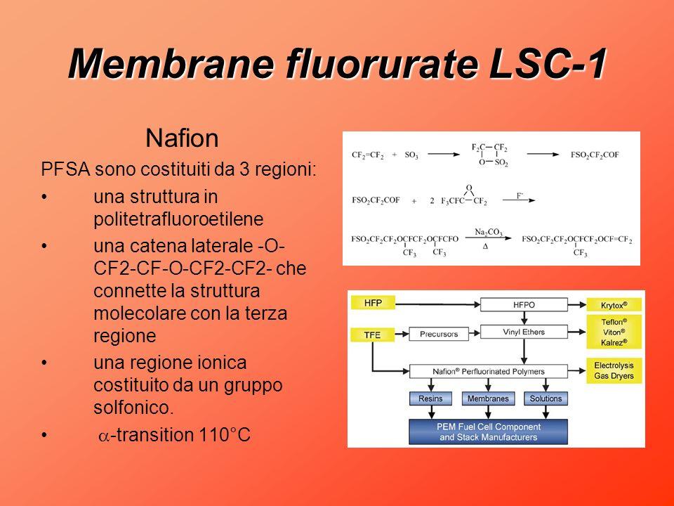 Membrane fluorurate LSC-1 Nafion PFSA sono costituiti da 3 regioni: una struttura in politetrafluoroetilene una catena laterale -O- CF2-CF-O-CF2-CF2-