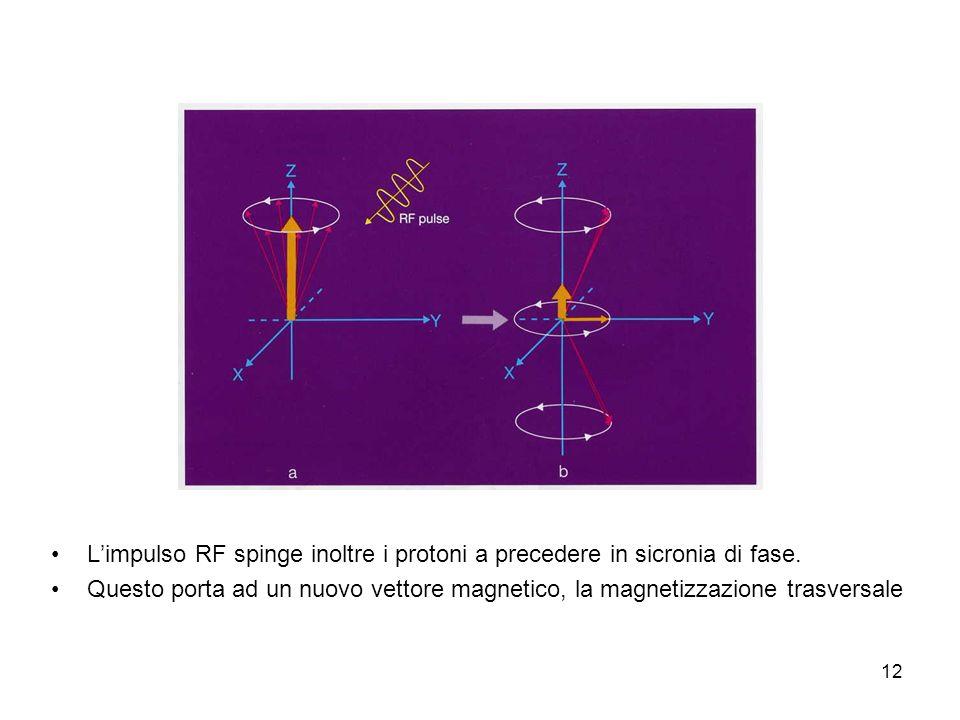 12 Limpulso RF spinge inoltre i protoni a precedere in sicronia di fase.