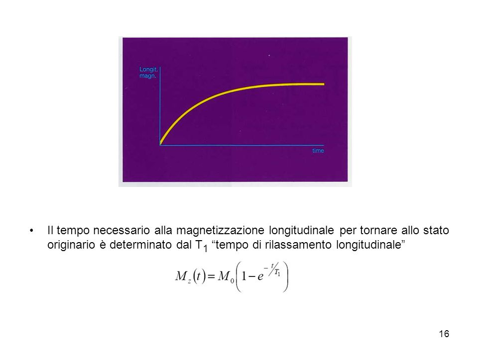 16 Il tempo necessario alla magnetizzazione longitudinale per tornare allo stato originario è determinato dal T 1 tempo di rilassamento longitudinale