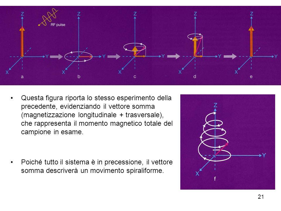 21 Questa figura riporta lo stesso esperimento della precedente, evidenziando il vettore somma (magnetizzazione longitudinale + trasversale), che rappresenta il momento magnetico totale del campione in esame.