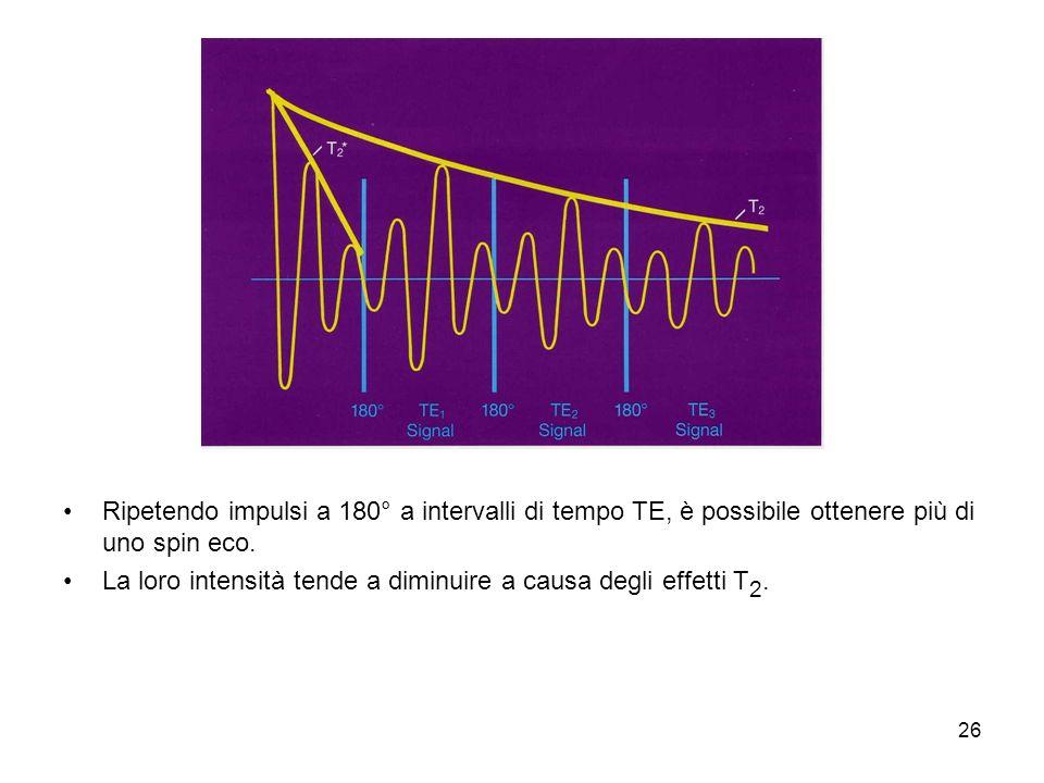 26 Ripetendo impulsi a 180° a intervalli di tempo TE, è possibile ottenere più di uno spin eco.