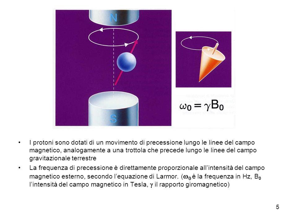 5 I protoni sono dotati di un movimento di precessione lungo le linee del campo magnetico, analogamente a una trottola che precede lungo le linee del campo gravitazionale terrestre La frequenza di precessione è direttamente proporzionale allintensità del campo magnetico esterno, secondo lequazione di Larmor.