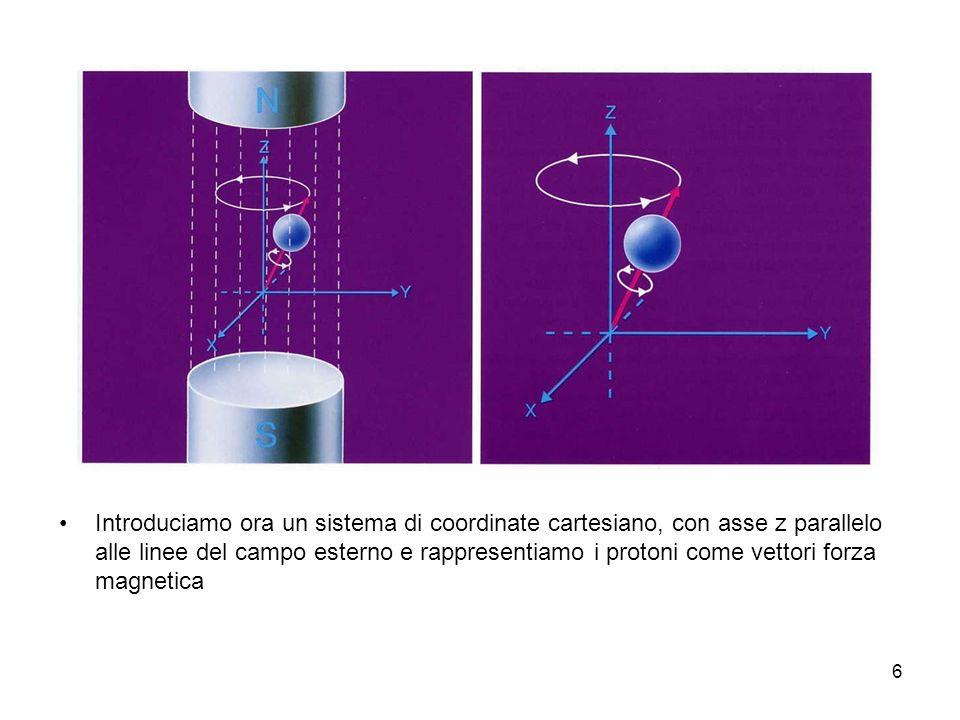 6 Introduciamo ora un sistema di coordinate cartesiano, con asse z parallelo alle linee del campo esterno e rappresentiamo i protoni come vettori forza magnetica