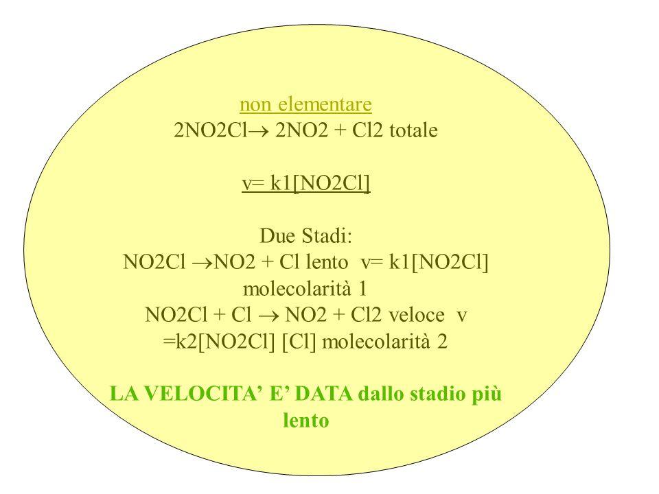 non elementare 2NO2Cl 2NO2 + Cl2 totale v= k1[NO2Cl] Due Stadi: NO2Cl NO2 + Cl lento v= k1[NO2Cl] molecolarità 1 NO2Cl + Cl NO2 + Cl2 veloce v =k2[NO2