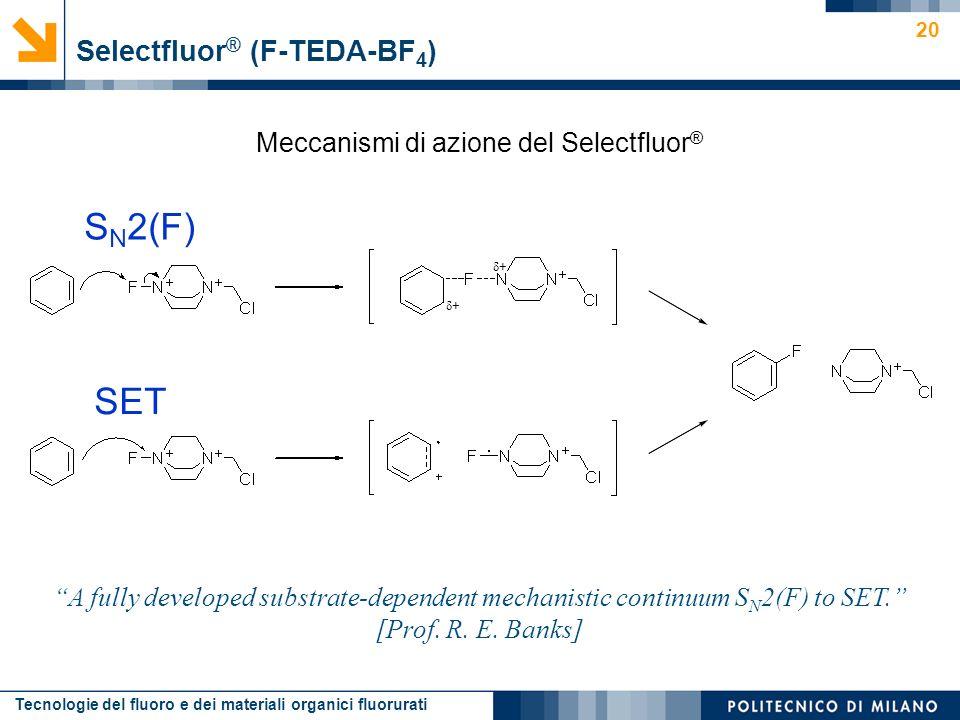 Tecnologie del fluoro e dei materiali organici fluorurati 20 Meccanismi di azione del Selectfluor ® Selectfluor ® (F-TEDA-BF 4 ) A fully developed sub