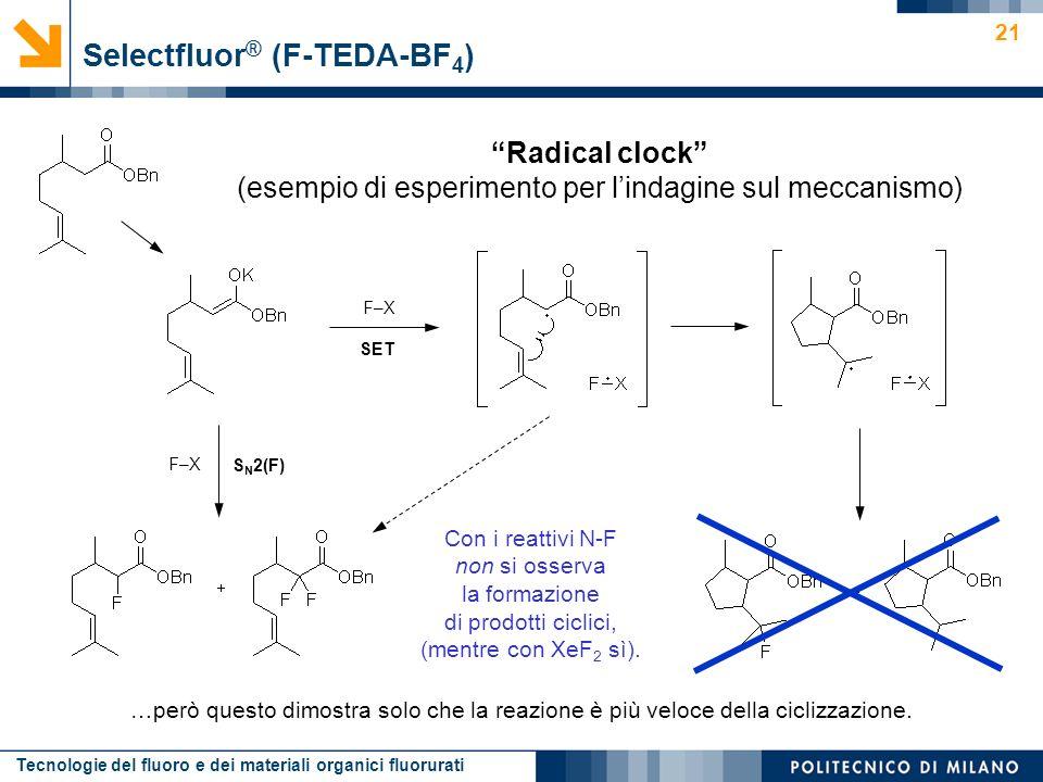 Tecnologie del fluoro e dei materiali organici fluorurati 21 Radical clock (esempio di esperimento per lindagine sul meccanismo) Selectfluor ® (F-TEDA