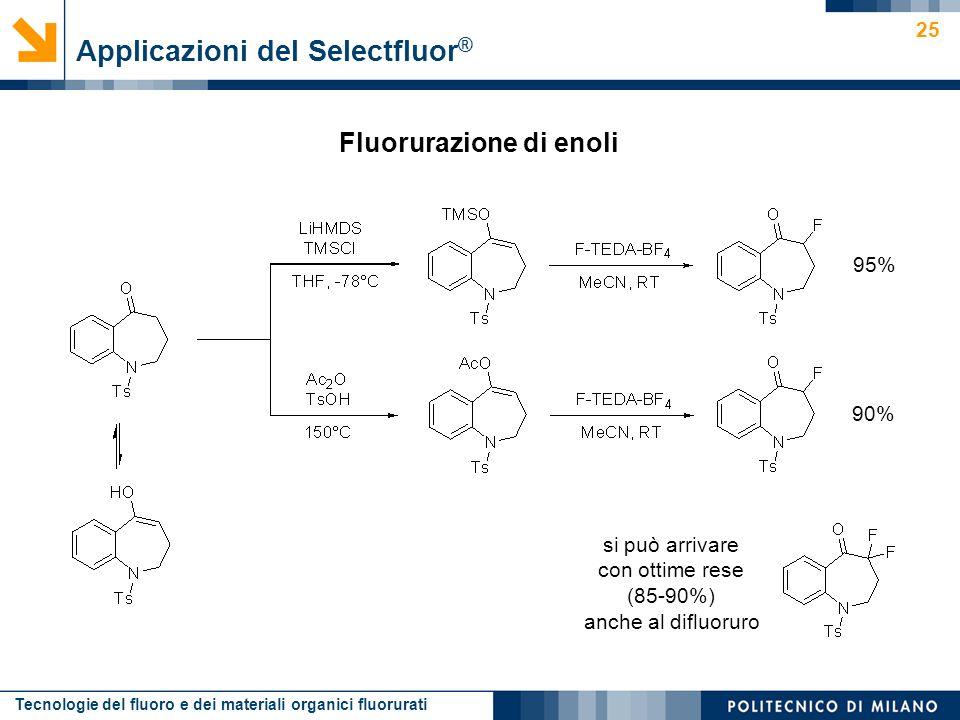 Tecnologie del fluoro e dei materiali organici fluorurati 25 Applicazioni del Selectfluor ® 90% 95% si può arrivare con ottime rese (85-90%) anche al