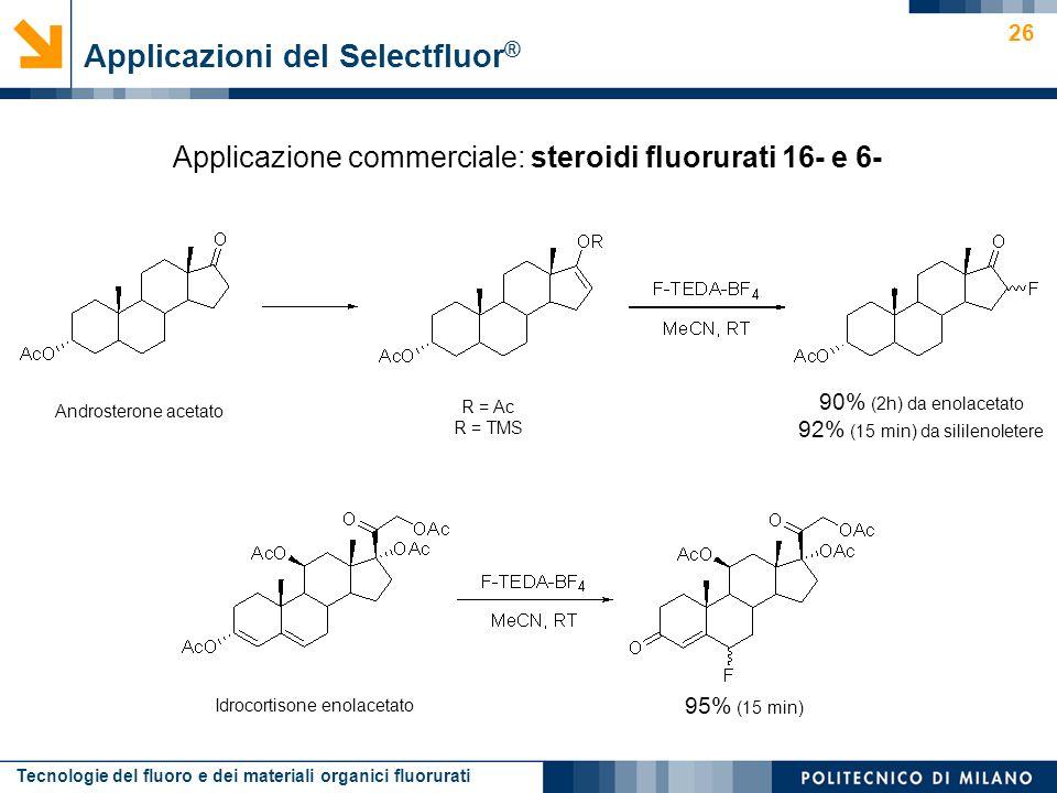 Tecnologie del fluoro e dei materiali organici fluorurati 26 Applicazione commerciale: steroidi fluorurati 16- e 6- Applicazioni del Selectfluor ® And