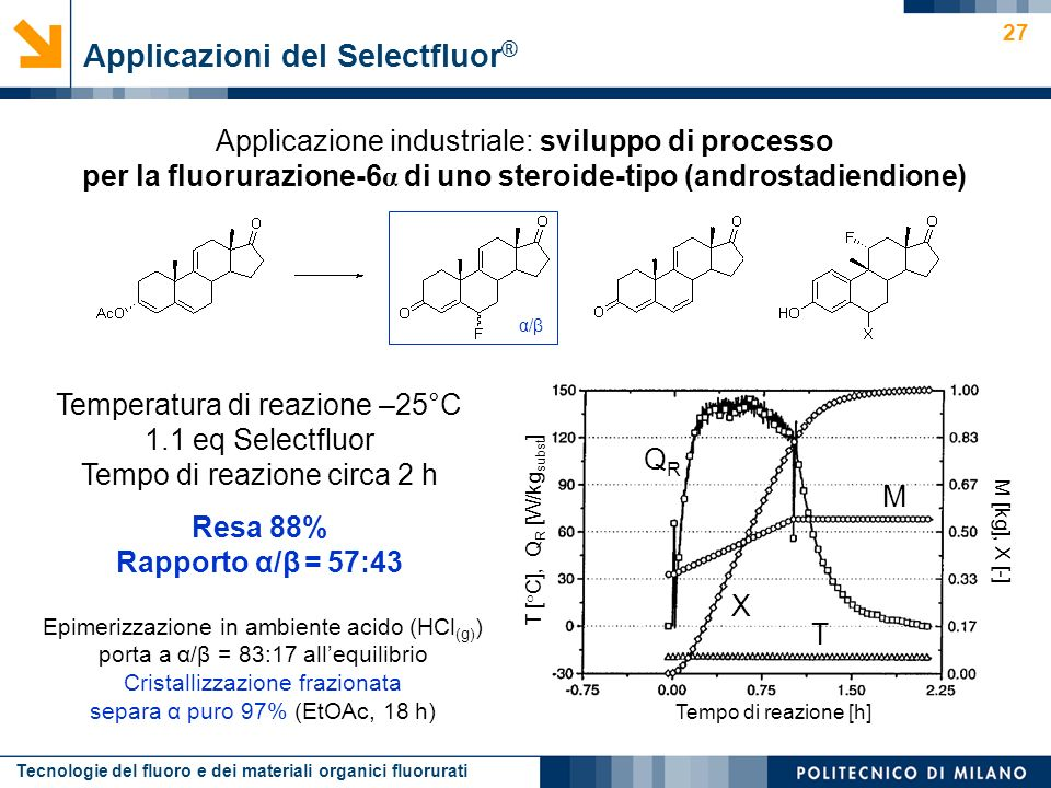 Tecnologie del fluoro e dei materiali organici fluorurati 27 Applicazione industriale: sviluppo di processo per la fluorurazione-6 α di uno steroide-t