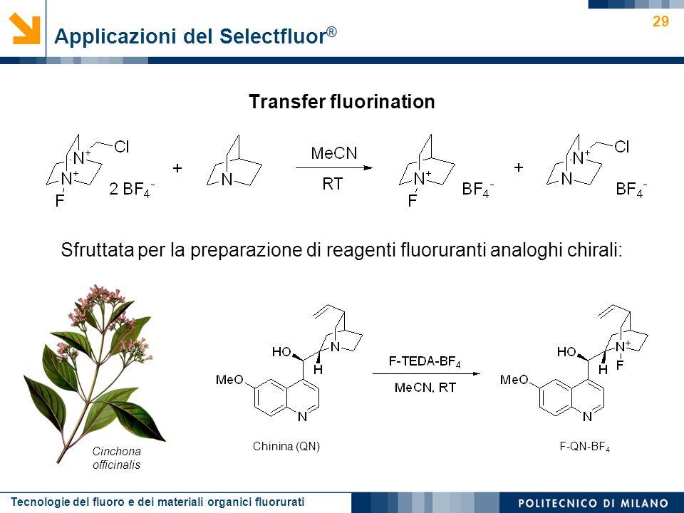 Tecnologie del fluoro e dei materiali organici fluorurati 29 Transfer fluorination Applicazioni del Selectfluor ® Sfruttata per la preparazione di rea