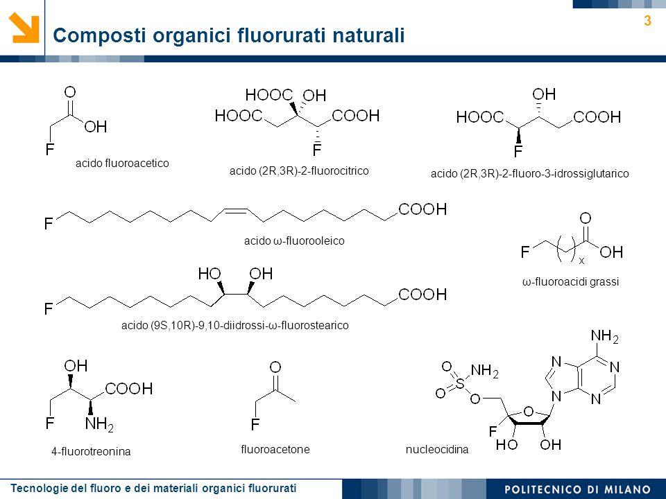 Tecnologie del fluoro e dei materiali organici fluorurati 3 Composti organici fluorurati naturali acido fluoroacetico 4-fluorotreonina ω-fluoroacidi g