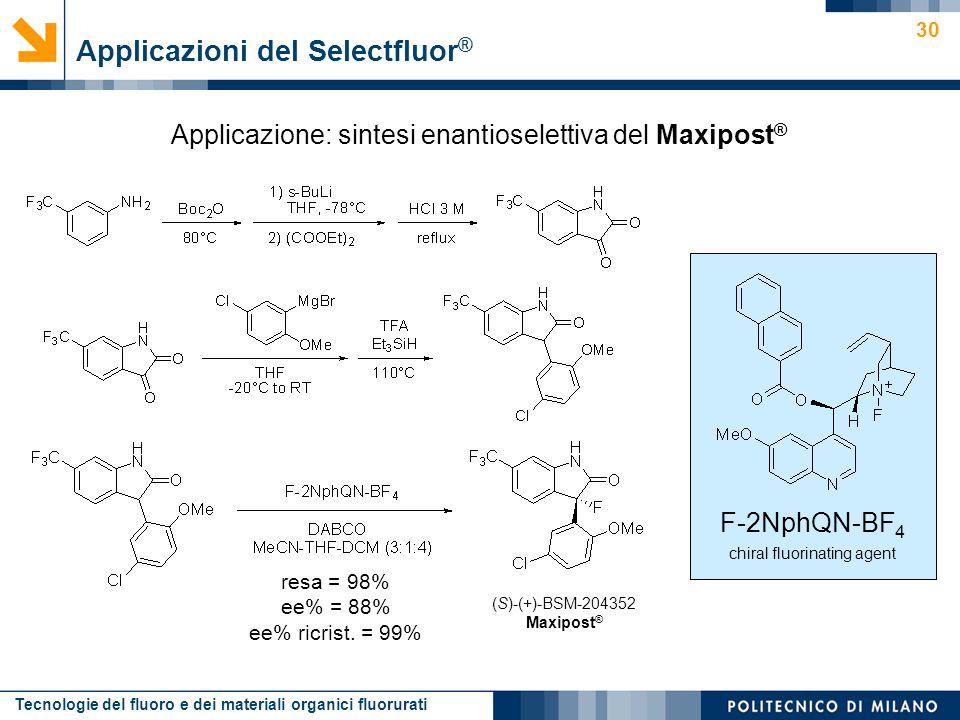 Tecnologie del fluoro e dei materiali organici fluorurati 30 Applicazione: sintesi enantioselettiva del Maxipost ® Applicazioni del Selectfluor ® (S)-