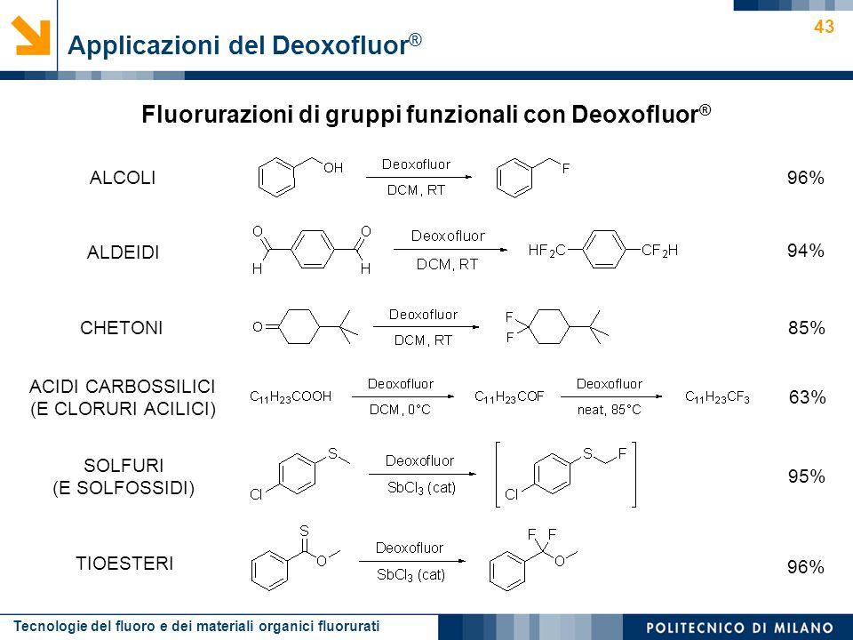 Tecnologie del fluoro e dei materiali organici fluorurati 43 Fluorurazioni di gruppi funzionali con Deoxofluor ® Applicazioni del Deoxofluor ® ALCOLI