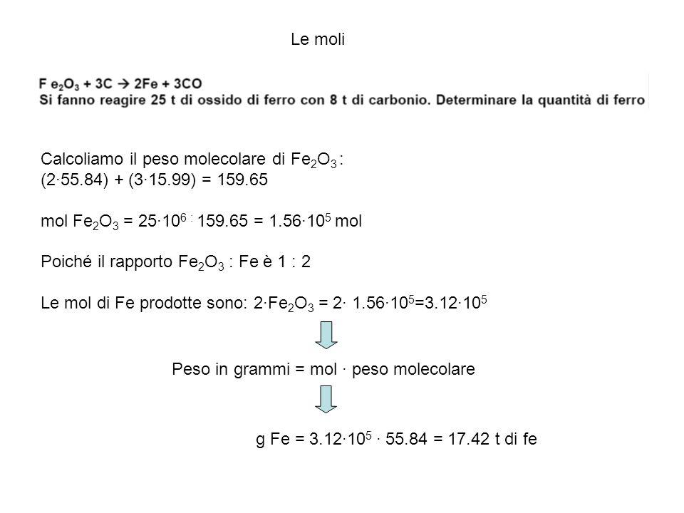 Le moli Calcoliamo il peso molecolare di Fe 2 O 3 : (2·55.84) + (3·15.99) = 159.65 mol Fe 2 O 3 = 25·10 6 : 159.65 = 1.56·10 5 mol Poiché il rapporto