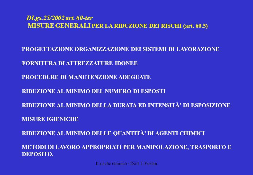 Il rischo chimico - Dott. I. Furlan DLgs.25/2002 art. 60-ter MISURE GENERALI PER LA RIDUZIONE DEI RISCHI (art. 60.5) PROGETTAZIONE ORGANIZZAZIONE DEI