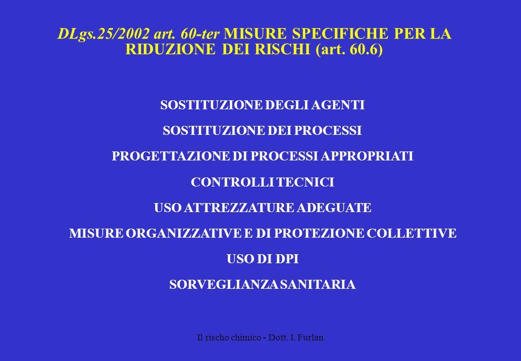 Il rischo chimico - Dott. I. Furlan DLgs.25/2002 art. 60-ter MISURE SPECIFICHE PER LA RIDUZIONE DEI RISCHI (art. 60.6) SOSTITUZIONE DEGLI AGENTI SOSTI