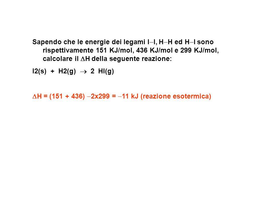 Sapendo che le energie dei legami I I, H H ed H I sono rispettivamente 151 KJ/mol, 436 KJ/mol e 299 KJ/mol, calcolare il H della seguente reazione: I2(s) + H2(g) 2 HI(g) H = (151 + 436) 2x299 = 11 kJ (reazione esotermica)