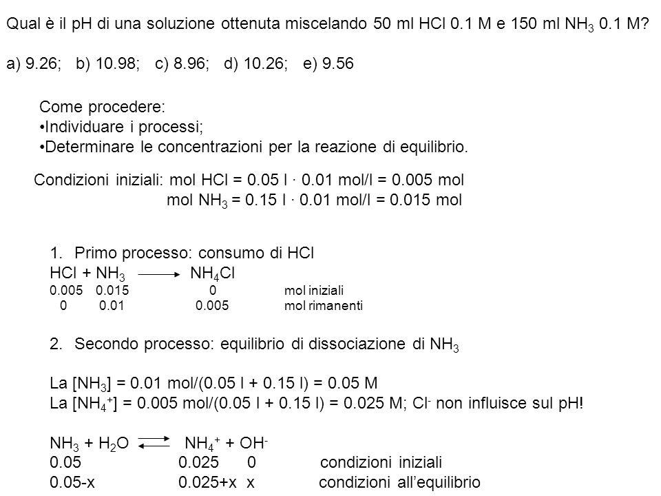 Qual è il pH di una soluzione ottenuta miscelando 50 ml HCl 0.1 M e 150 ml NH 3 0.1 M? a) 9.26; b) 10.98; c) 8.96; d) 10.26; e) 9.56 Come procedere: I