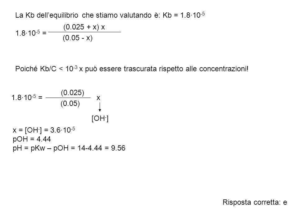 La Kb dellequilibrio che stiamo valutando è: Kb = 1.8·10 -5 1.8·10 -5 = Poiché Kb/C < 10 -3 x può essere trascurata rispetto alle concentrazioni! (0.0