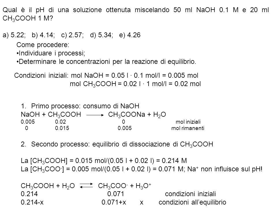 Qual è il pH di una soluzione ottenuta miscelando 50 ml NaOH 0.1 M e 20 ml CH 3 COOH 1 M? a) 5.22; b) 4.14; c) 2.57; d) 5.34; e) 4.26 Come procedere: