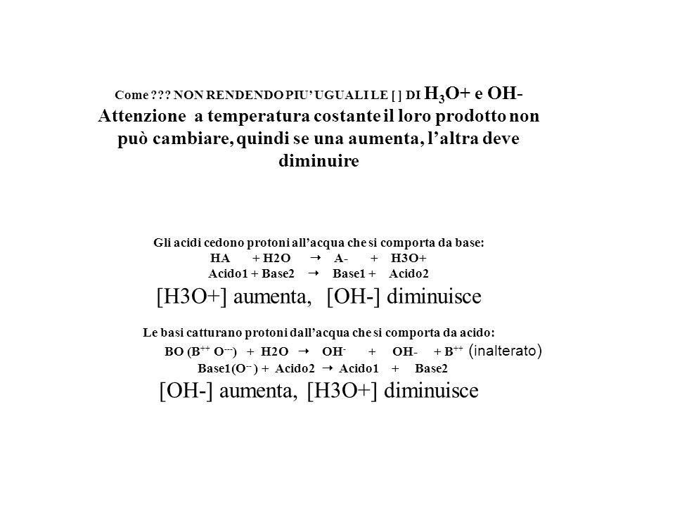 Come ??? NON RENDENDO PIU UGUALI LE [ ] DI H 3 O+ e OH- Attenzione a temperatura costante il loro prodotto non può cambiare, quindi se una aumenta, la