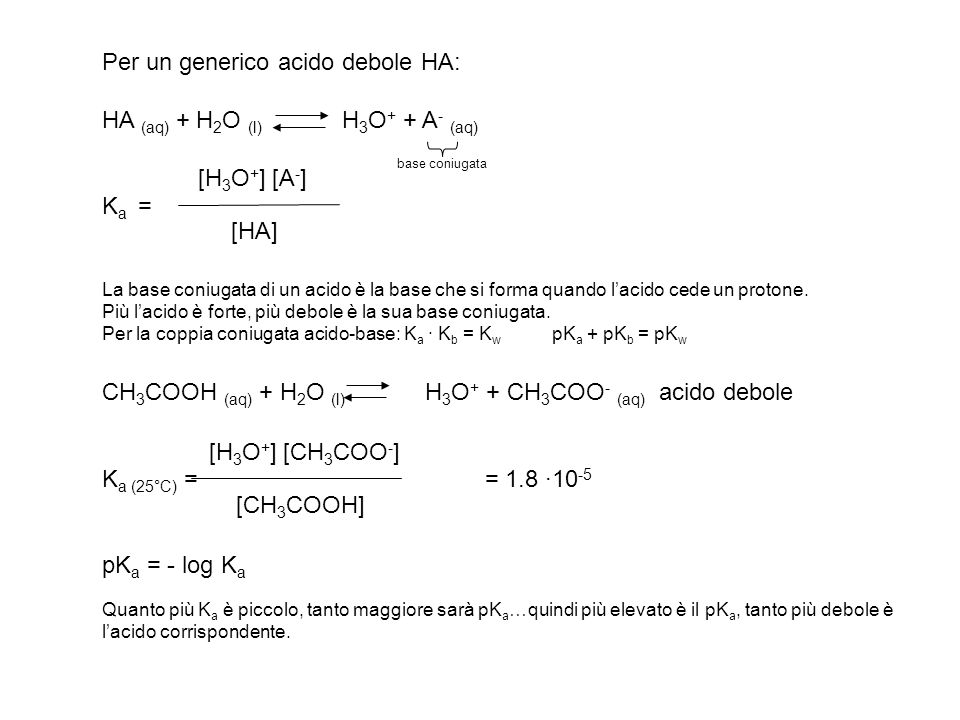 Il pH di una soluzione 0.5 M di HCN (Ka = 4·10 -10 ) è: a) 4.5<pH<5; b) 3.5<pH<4.5; c) 5<pH<5.5; d) 5.5<pH<6; e) 9<pH<9.5 HCN + H 2 O H 3 O + + CN - 0.5-x x x allequilibrio Poiché Ka/C<10 -3 possiamo evitare di risolvere lequazione di secondo grado: x = [H3O + ] = (Ka·C) = 1.41·10 -5 pH = 4.85 Risposta corretta: a