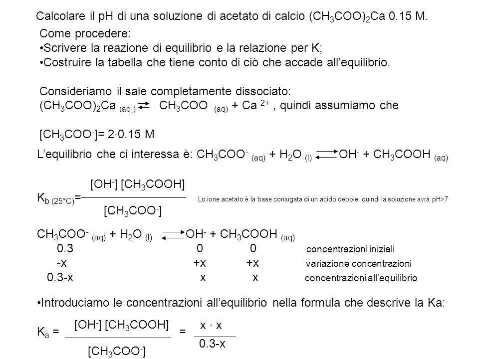 Calcolare il pH di una soluzione di acetato di calcio (CH 3 COO) 2 Ca 0.15 M. Come procedere: Scrivere la reazione di equilibrio e la relazione per K;