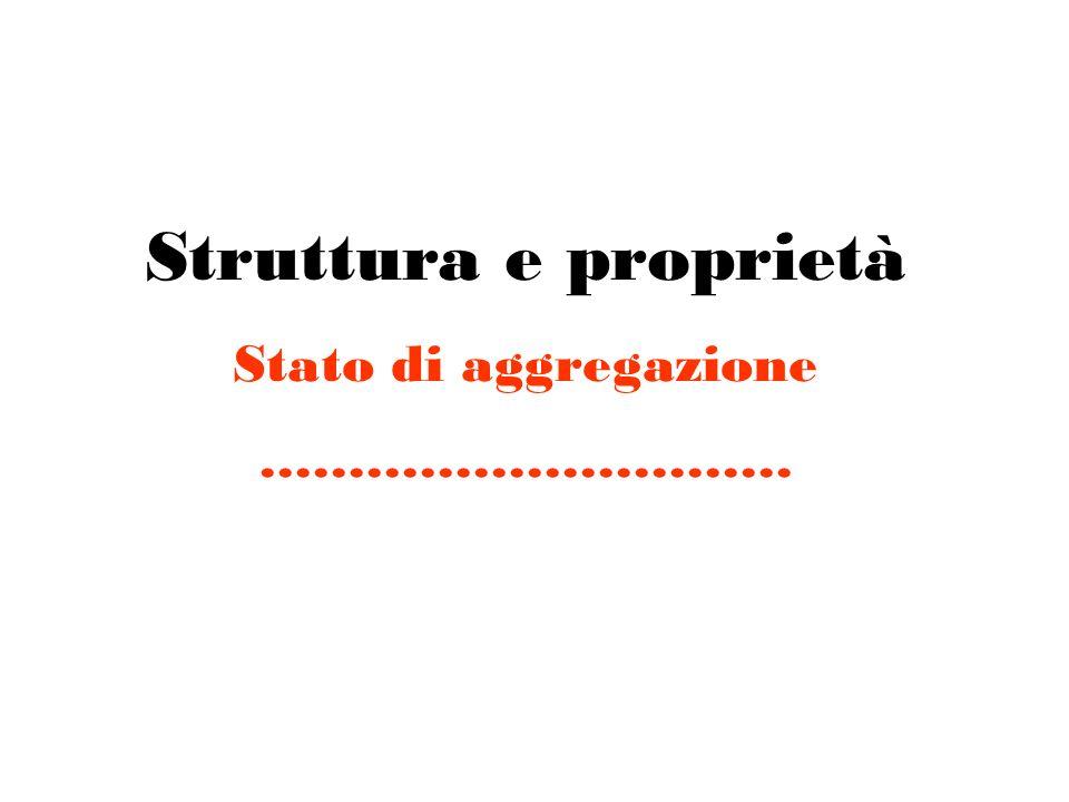 Struttura e proprietà Stato di aggregazione …………………………