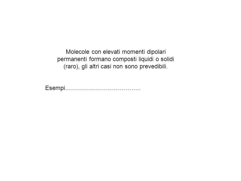 Molecole con elevati momenti dipolari permanenti formano composti liquidi o solidi (raro), gli altri casi non sono prevedibili.