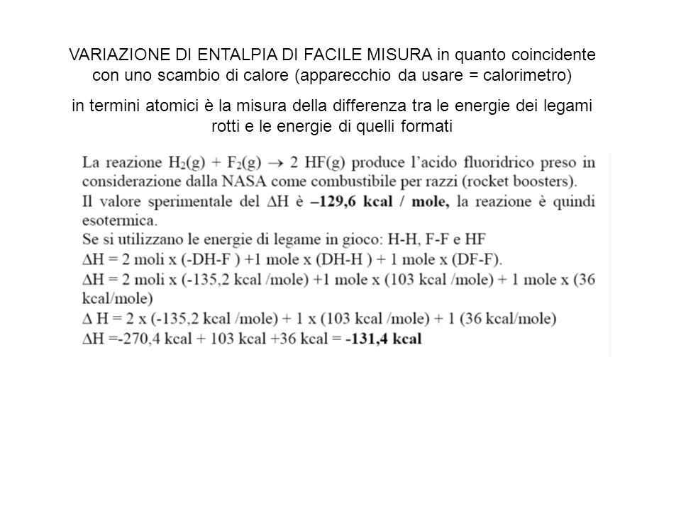 VARIAZIONE DI ENTALPIA DI FACILE MISURA in quanto coincidente con uno scambio di calore (apparecchio da usare = calorimetro) in termini atomici è la misura della differenza tra le energie dei legami rotti e le energie di quelli formati