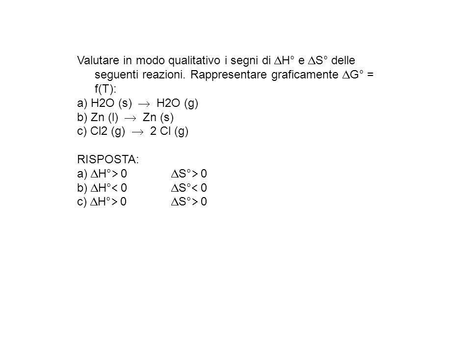 Valutare in modo qualitativo i segni di H° e S° delle seguenti reazioni. Rappresentare graficamente G° = f(T): a) H2O (s) H2O (g) b) Zn (l) Zn (s) c)