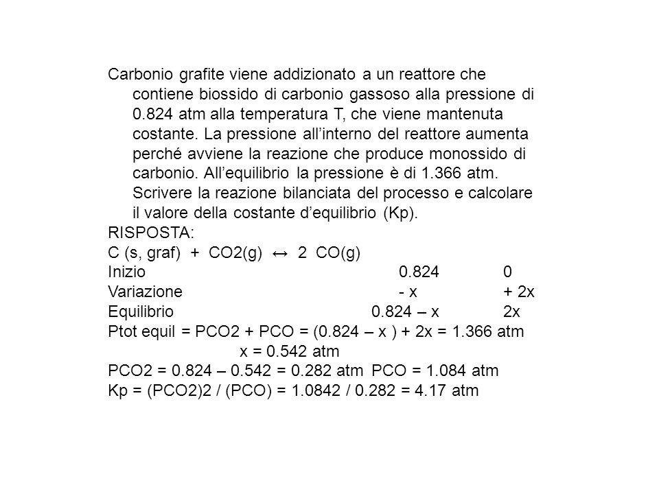 Carbonio grafite viene addizionato a un reattore che contiene biossido di carbonio gassoso alla pressione di 0.824 atm alla temperatura T, che viene m