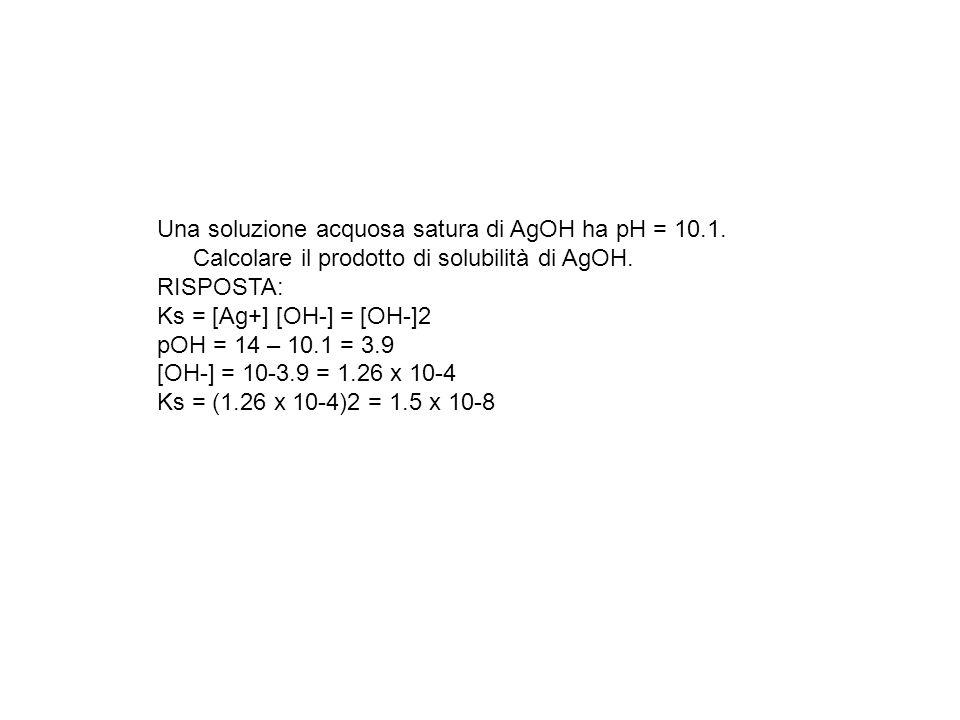 Una soluzione acquosa satura di AgOH ha pH = 10.1. Calcolare il prodotto di solubilità di AgOH. RISPOSTA: Ks = [Ag+] [OH-] = [OH-]2 pOH = 14 – 10.1 =