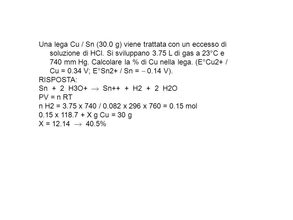 Una lega Cu / Sn (30.0 g) viene trattata con un eccesso di soluzione di HCl. Si sviluppano 3.75 L di gas a 23°C e 740 mm Hg. Calcolare la % di Cu nell