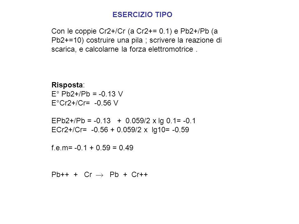 Con le coppie Cr2+/Cr (a Cr2+= 0.1) e Pb2+/Pb (a Pb2+=10) costruire una pila ; scrivere la reazione di scarica, e calcolarne la forza elettromotrice.