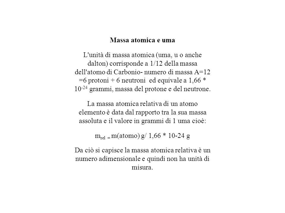 Massa atomica e uma L'unità di massa atomica (uma, u o anche dalton) corrisponde a 1/12 della massa dell'atomo di Carbonio- numero di massa A=12 =6 pr