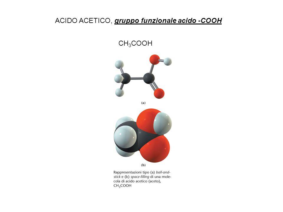 CH 3 COOH ACIDO ACETICO, gruppo funzionale acido -COOH