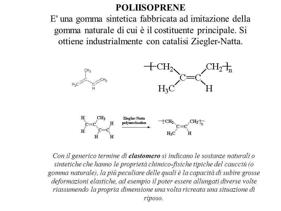 POLIISOPRENE E' una gomma sintetica fabbricata ad imitazione della gomma naturale di cui è il costituente principale. Si ottiene industrialmente con c