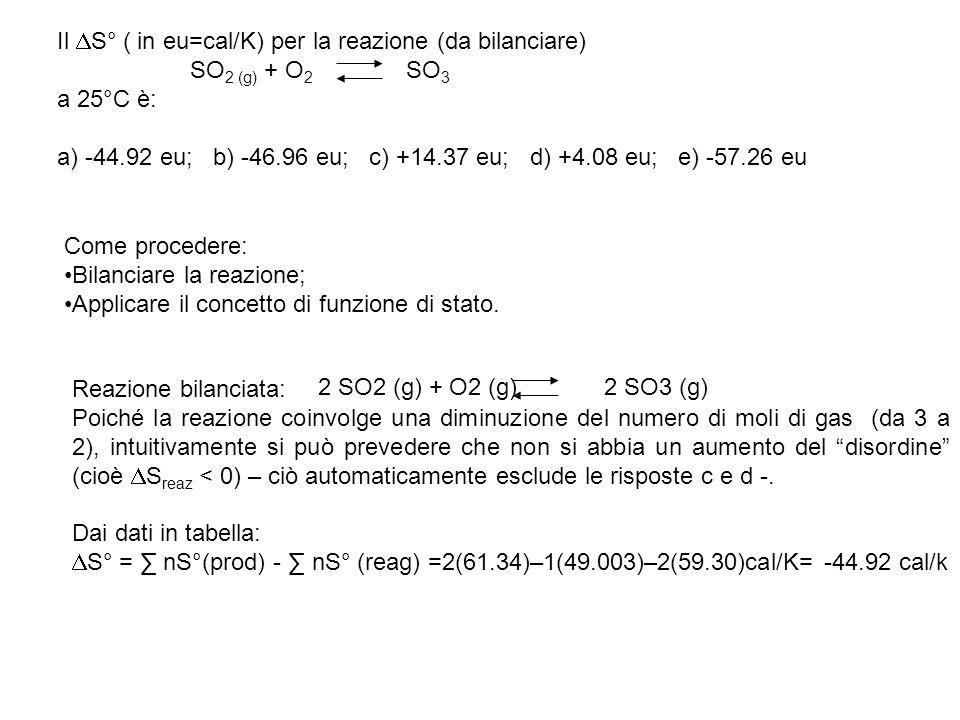 Studiare la termodinamica della reazione: NO2 (g) + SO2 (g) NO (g) + SO3 (g) Esprimere i risultati dei calcoli dettagliati anche con un grafico quantitativo e dimensionato di G° = f (T).