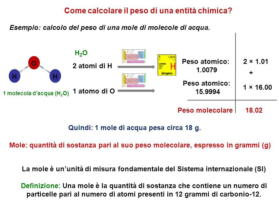La mole è ununità di misura fondamentale del Sistema internazionale (SI) Definizione: Una mole è la quantità di sostanza che contiene un numero di par