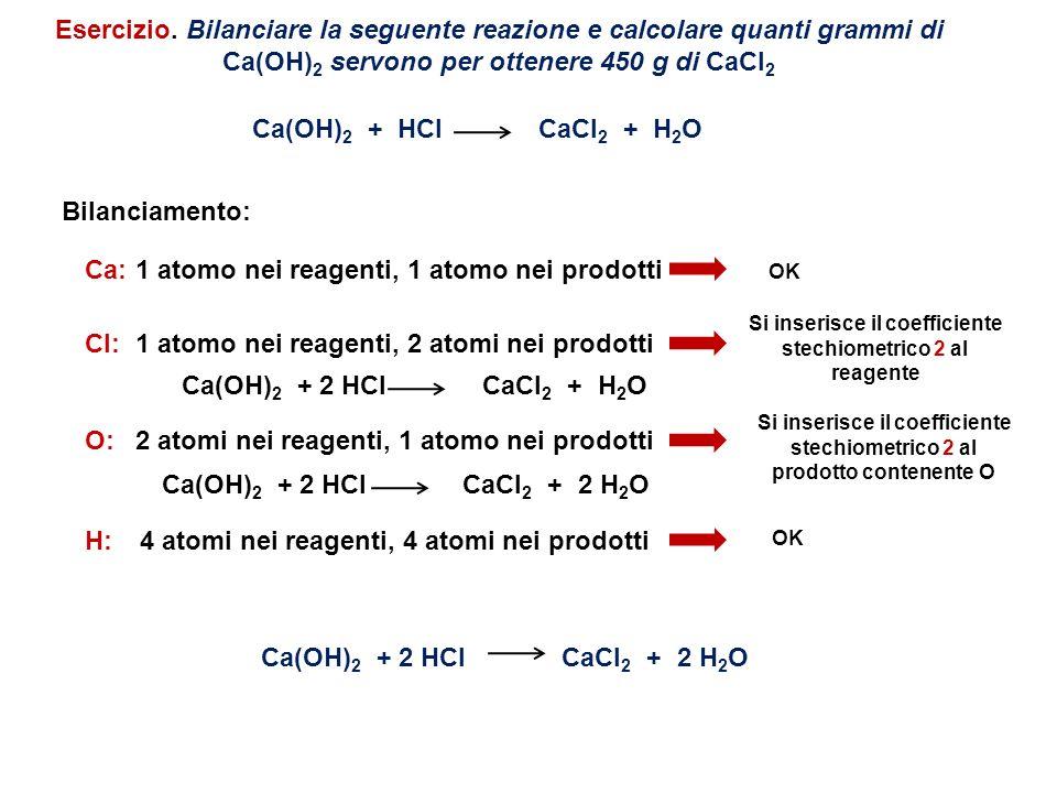 Esercizio. Bilanciare la seguente reazione e calcolare quanti grammi di Ca(OH) 2 servono per ottenere 450 g di CaCl 2 Ca(OH) 2 + HCl CaCl 2 + H 2 O Bi