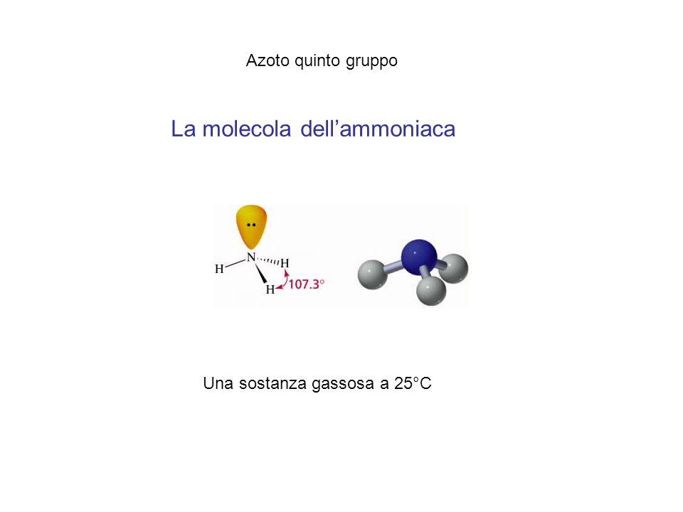 La molecola dellammoniaca Azoto quinto gruppo Una sostanza gassosa a 25°C