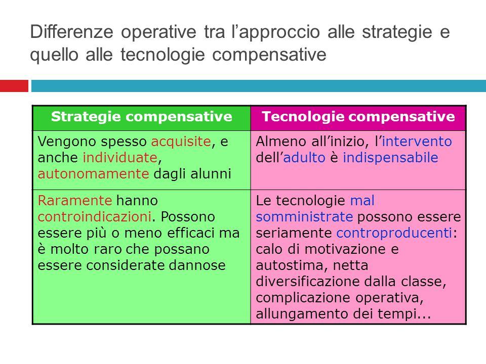 Differenze operative tra lapproccio alle strategie e quello alle tecnologie compensative Strategie compensativeTecnologie compensative Vengono spesso