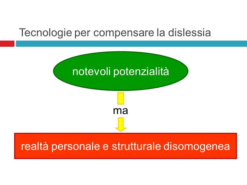Tecnologie per compensare la dislessia notevoli potenzialità realtà personale e strutturale disomogenea ma