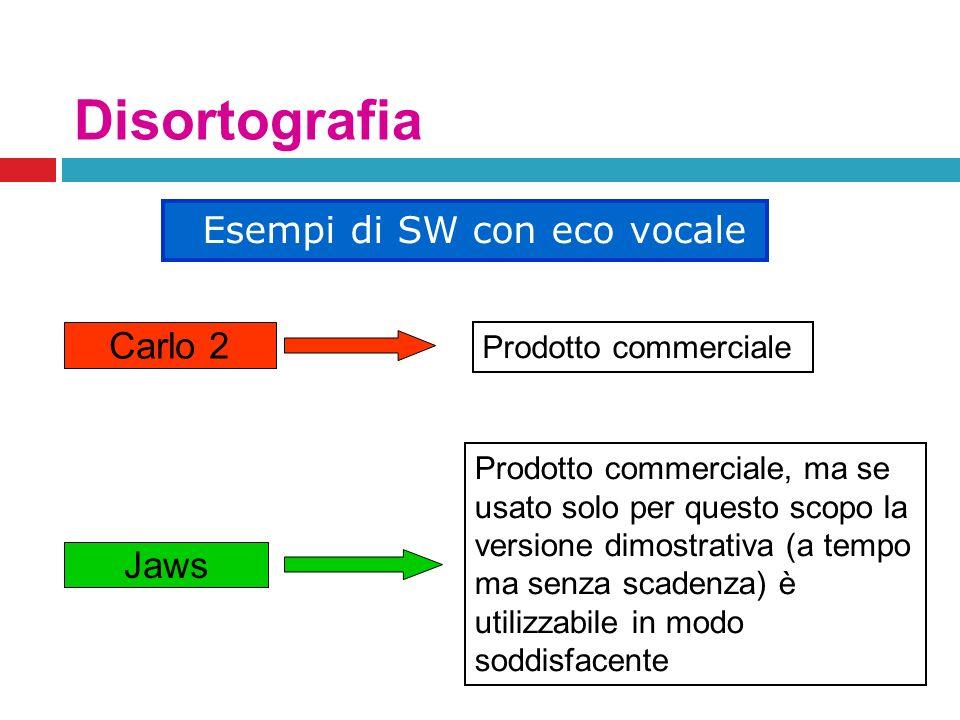 Disortografia Carlo 2 Jaws Esempi di SW con eco vocale Prodotto commerciale Prodotto commerciale, ma se usato solo per questo scopo la versione dimost