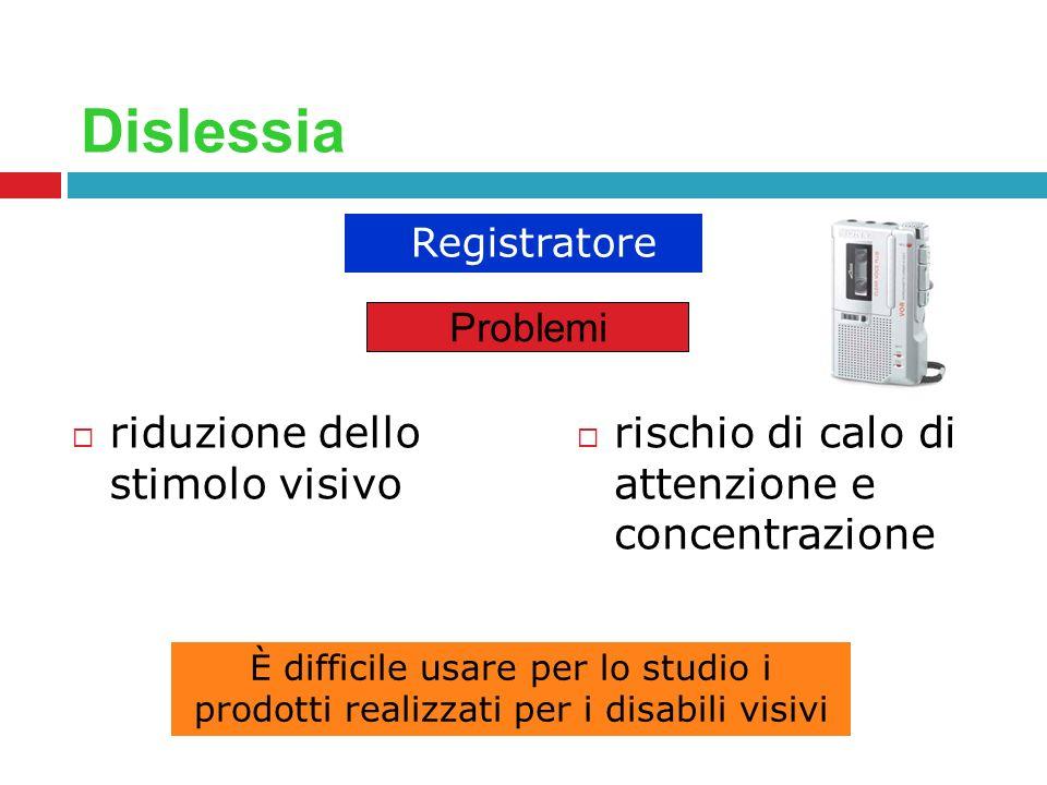 Dislessia riduzione dello stimolo visivo rischio di calo di attenzione e concentrazione Registratore Problemi È difficile usare per lo studio i prodot