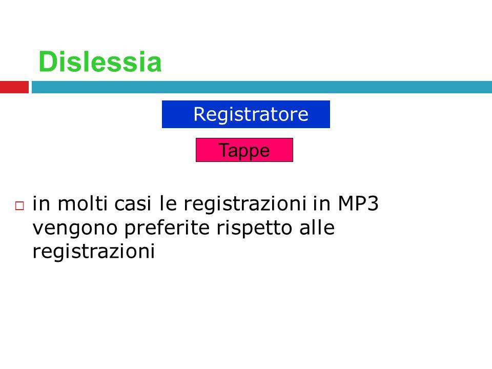 Dislessia in molti casi le registrazioni in MP3 vengono preferite rispetto alle registrazioni Registratore Tappe
